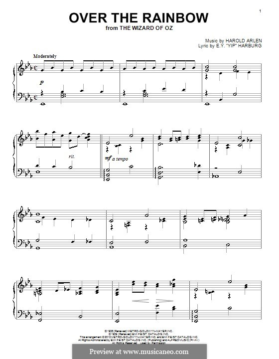 Over the Rainbow (from The Wizard of Oz): For piano (E Flat Major) by Harold Arlen