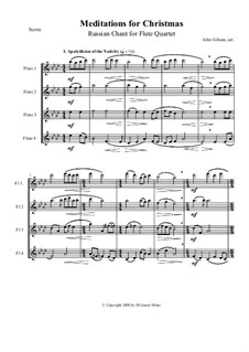 Meditations for Christmas. Russian Chant: For flute quartet by Sergei Rachmaninoff, folklore