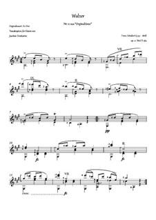 Thirty-Six Original Dances, D.365 Op.9: No.12 Waltz, for guitar by Franz Schubert