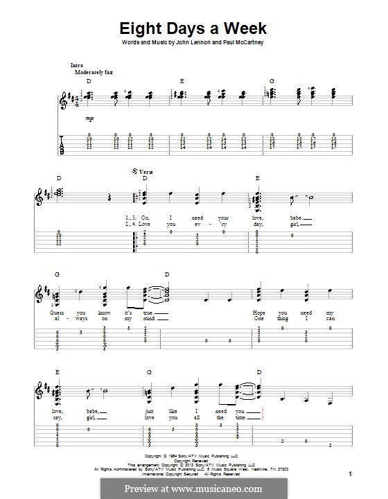 Eight Days a Week (The Beatles): For guitar with tab by John Lennon, Paul McCartney