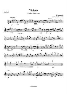 Violetta. Polka, Op.404: For string quartet – parts by Johann Strauss (Sohn)