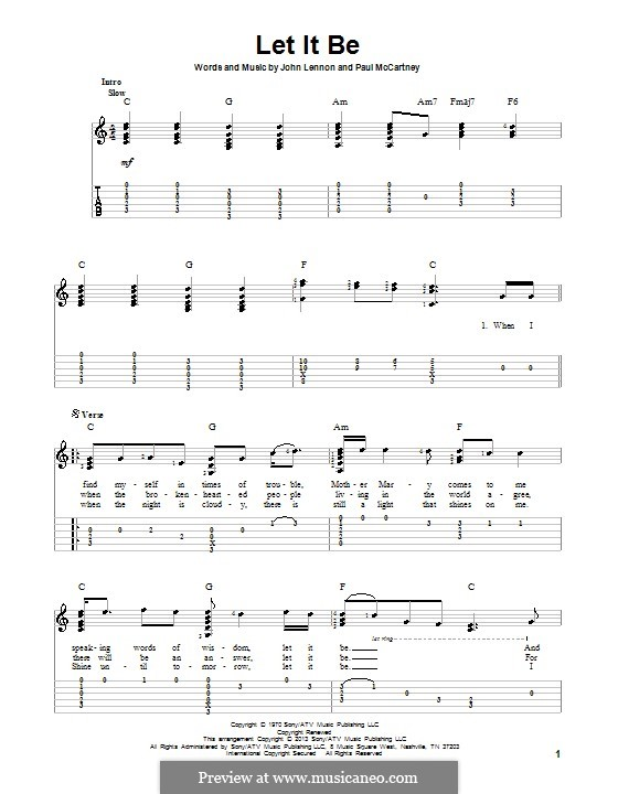 Let it Be (The Beatles): For guitar with tab by John Lennon, Paul McCartney