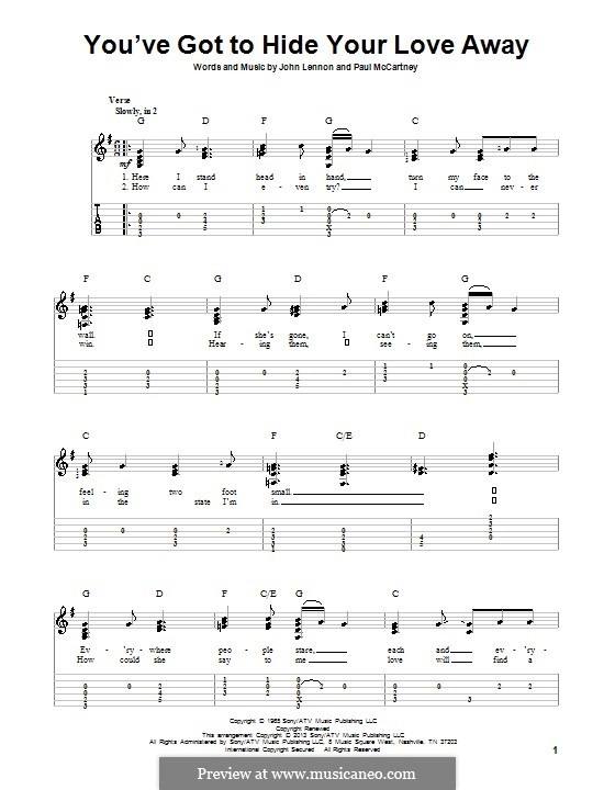 You've Got to Hide Your Love Away (The Beatles): For guitar with tab by John Lennon, Paul McCartney
