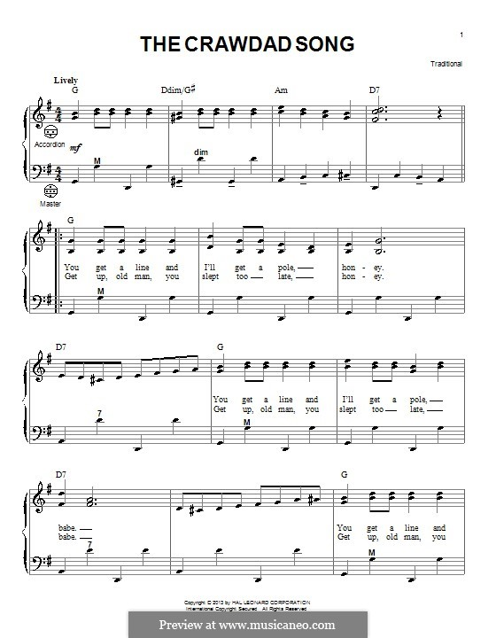 The Crawdad Song By Folklore Sheet Music On Musicaneo