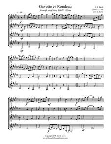 Suite for Lute in E Major, BWV 1006a: Gavotte en Rondeau, for four guitars – score and parts by Johann Sebastian Bach