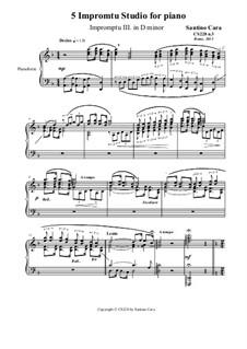 5 Impromptu Studies for Piano, CS228: Impromptu study No.3 in D minor by Santino Cara