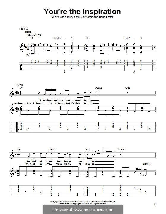 You're the Inspiration (Chicago): For guitar with tab by David Foster, Peter Cetera