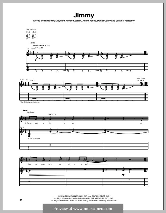 Jimmy (Tool): For guitar with tab by Adam Jones, Daniel Carey, Maynard James Keenan