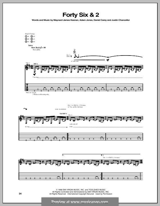 Forty Six & 2 (Tool): For guitar with tab by Adam Jones, Daniel Carey, Justin Chancellor, Maynard James Keenan
