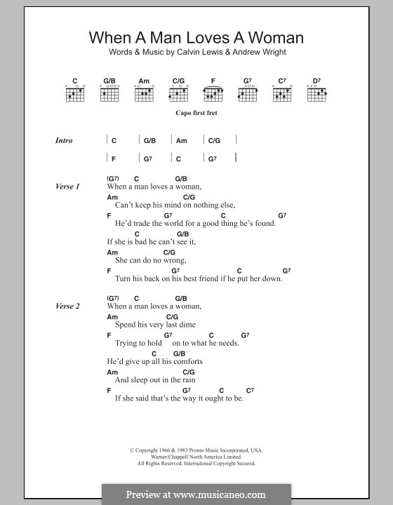 When a Man Loves a Woman (Percy Sledge): Lyrics and chords by Andrew Wright, Calvin Lewis