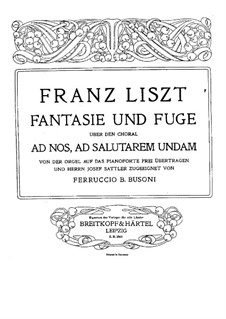 Fantasia and Fugue on Chorale 'Ad nos, ad salutarem undam', S.259: For piano by Franz Liszt