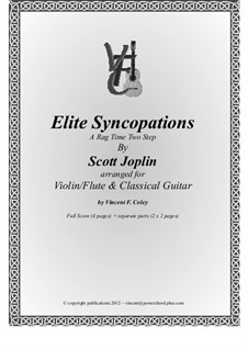 Elite Syncopations: For violin (or flute) and classical guitar by Scott Joplin