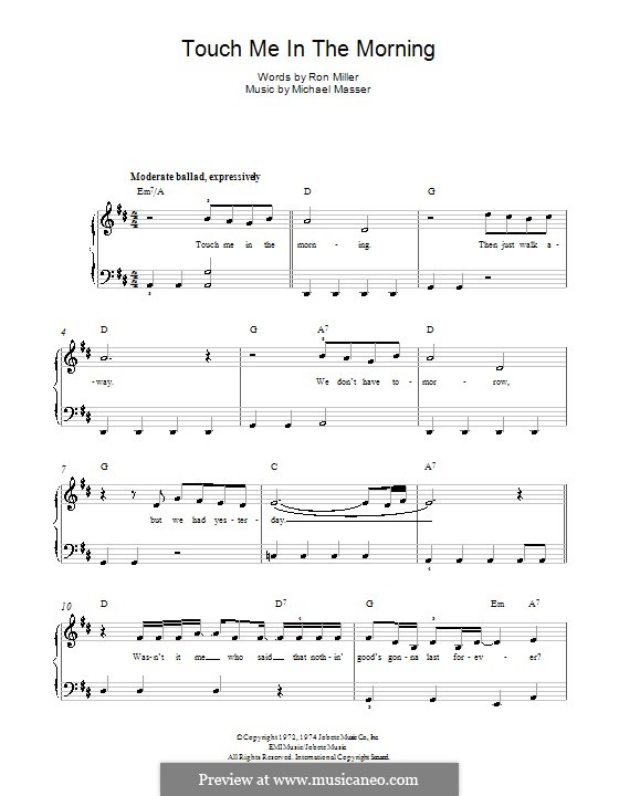 Touch Me in the Morning (Diana Ross): For piano by Michael Masser