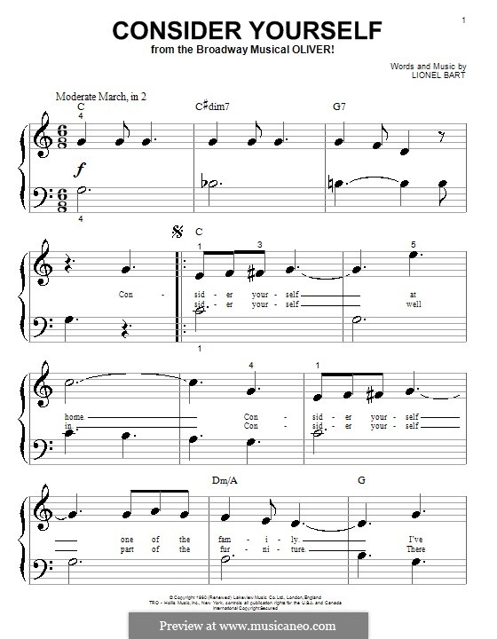 Consider Yourself (from Oliver!): For piano by Lionel Bart