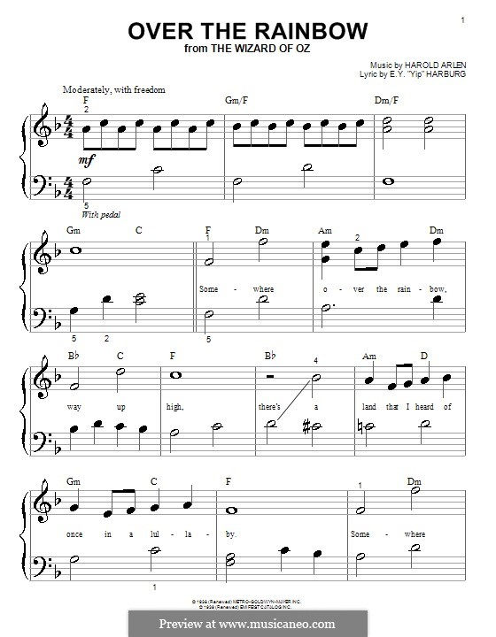 Over the Rainbow (from The Wizard of Oz): For piano (with lyrics) by Harold Arlen