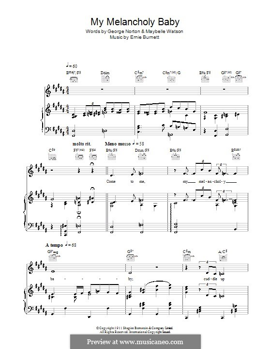 My Melancholy Baby: For voice and piano or guitar (Michael Buble) by Ernie Burnett