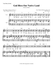 God Bless Our Native Land: Piano-vocal score by Unknown (works before 1850)