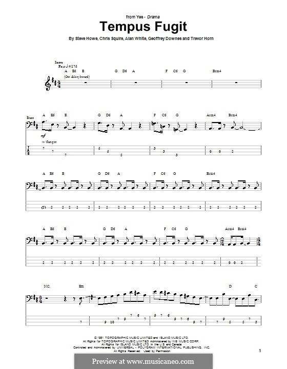 Tempus Fugit (Yes): For bass guitar with tab by Alan White, Chris Squire, Geoffrey Downes, Steve Howe, Trevor Horn
