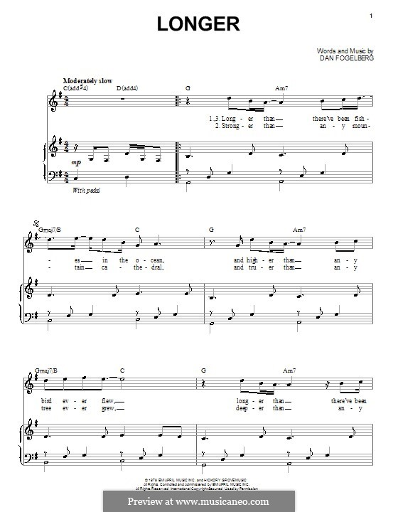Longer: For voice and piano by Dan Fogelberg
