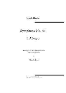 Symphony No.44 in E Minor 'Mourning', Hob.I/44: Movement I, for recorder orchestra by Joseph Haydn
