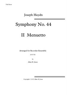 Symphony No.44 in E Minor 'Mourning', Hob.I/44: Movement II, for recorder orchestra by Joseph Haydn