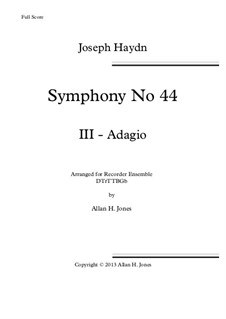 Symphony No.44 in E Minor 'Mourning', Hob.I/44: Movement III, for recorder orchestra by Joseph Haydn
