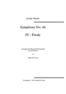 Symphony No.44 in E Minor 'Mourning', Hob.I/44: Movement IV, for recorder orchestra by Joseph Haydn