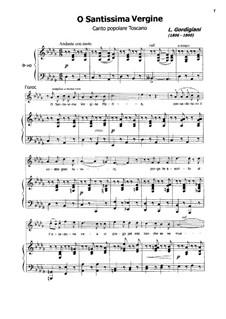 O Santissima Vergine: For voice and piano by Luigi Gordigiani