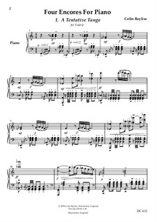 Four Encores for solo piano, B99a: Four Encores for solo piano by Colin Bayliss