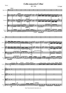Concerto for Cello and Strings in C Major, RV 399: Score, parts by Antonio Vivaldi