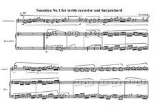 2 Sonatinas for treble recorder and clavichord: Sonatina No.1, MVWV 537 by Maurice Verheul