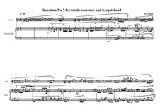 2 Sonatinas for treble recorder and clavichord: Sonatina No.2, MVWV 538 by Maurice Verheul