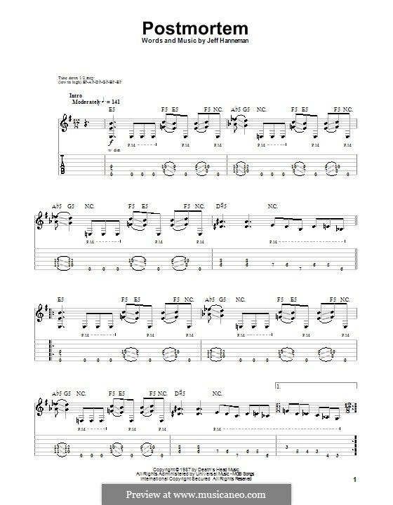 Postmortem (Slayer): For guitar with tab by Jeffery Hanneman