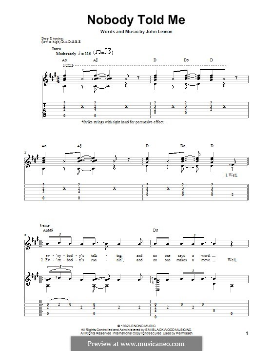 Nobody Told Me: For guitar with tab by John Lennon
