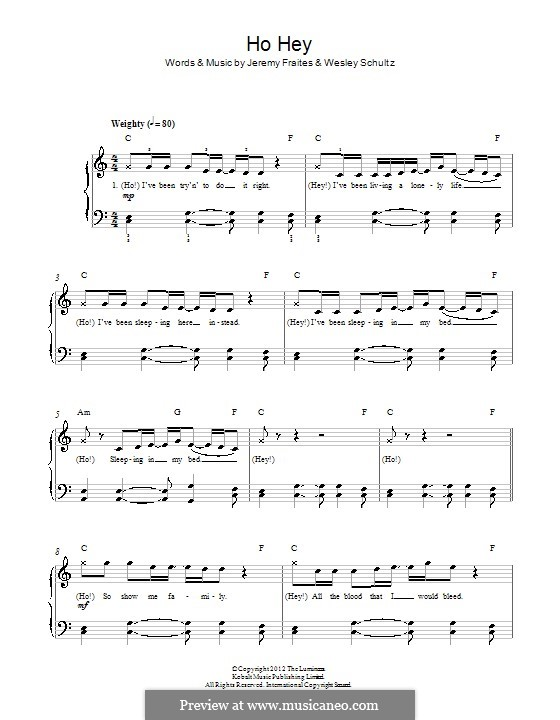 Ho Hey (The Lumineers): For piano by Jeremy Fraites, Wesley Schultz