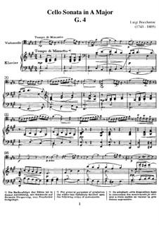 Sonata for Cello and Basso Continuo in A Major , G.4b: Version for cello and piano by Luigi Boccherini