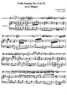 Sonata for Cello and Basso Continuo in G Major, G.5: Version for cello and piano by C.A. Piatti by Luigi Boccherini