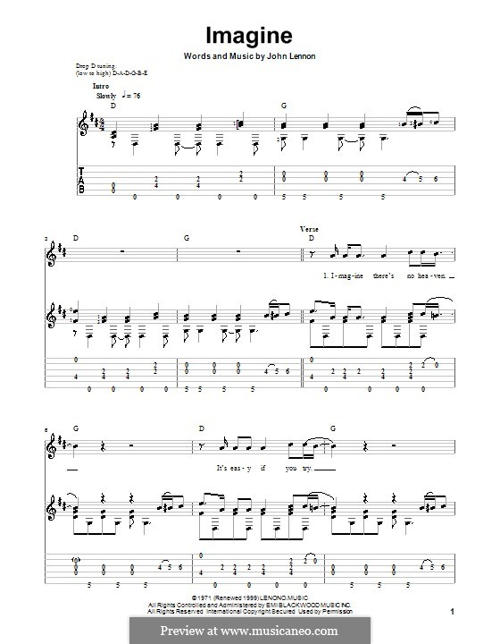 Imagine: For guitar with tab by John Lennon
