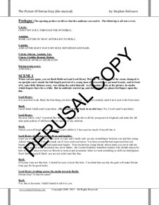 The Picture of Dorian Gray (musical): Score and orchestra parts by Stephen DeCesare