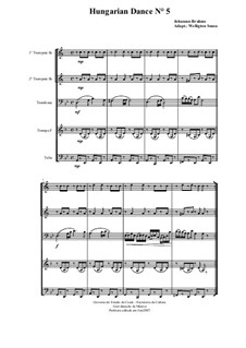 Dance No.5 in F Sharp Minor: For brass quintet by Johannes Brahms