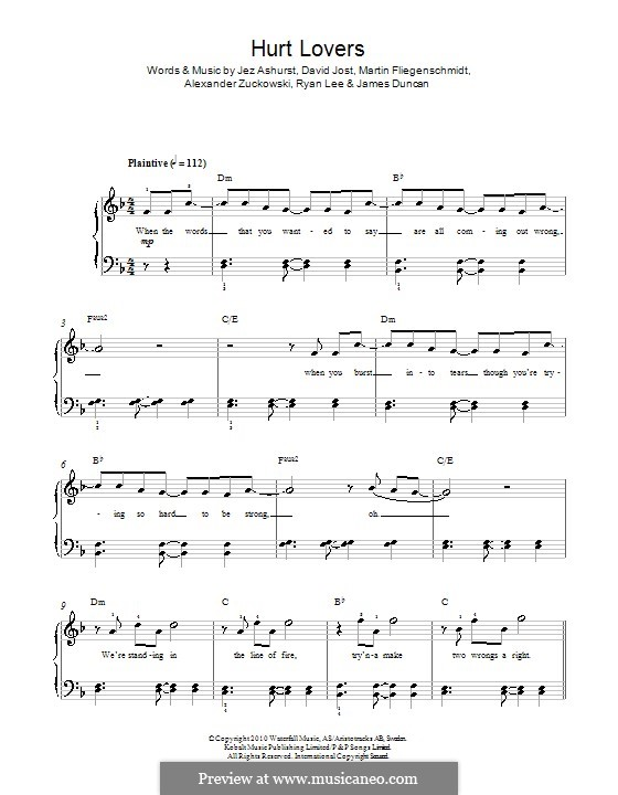 Hurt Lovers (Blue): For piano by Jez Ashurst, Alexander Zuckowski, David Jost, James Duncan, Martin Fliegenschmidt, Ryan Lee