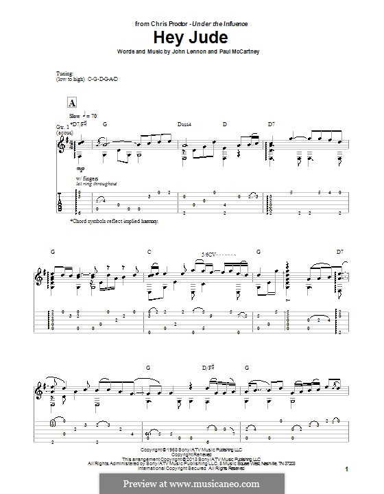 Hey Jude (The Beatles), for One Instrument: For guitar with tab by John Lennon, Paul McCartney