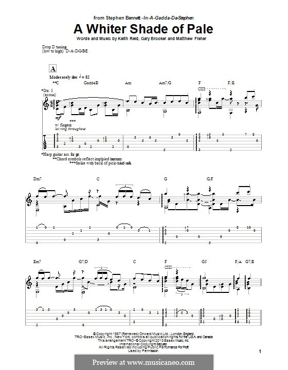 A Whiter Shade of Pale (Procol Harum): For guitar with tab by Gary Brooker