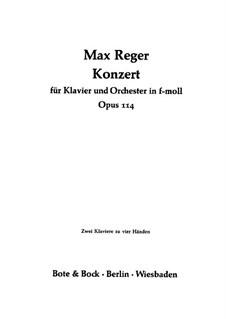 Concerto for Piano and Orchestra in F Minor, Op.114: Movement I, for two pianos four hands by Max Reger