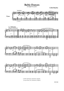 Baltic Dances, B28: Arrangement for piano by Colin Bayliss