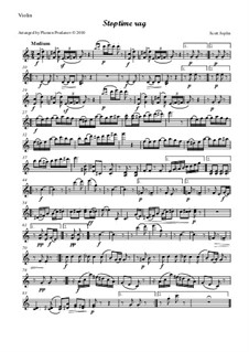 Stoptime Rag: For oboe, violin, viola and cello - violin part by Scott Joplin