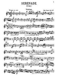 Serenade for Flute, Violin and Viola in G Major, Op.141a: Violin part by Max Reger