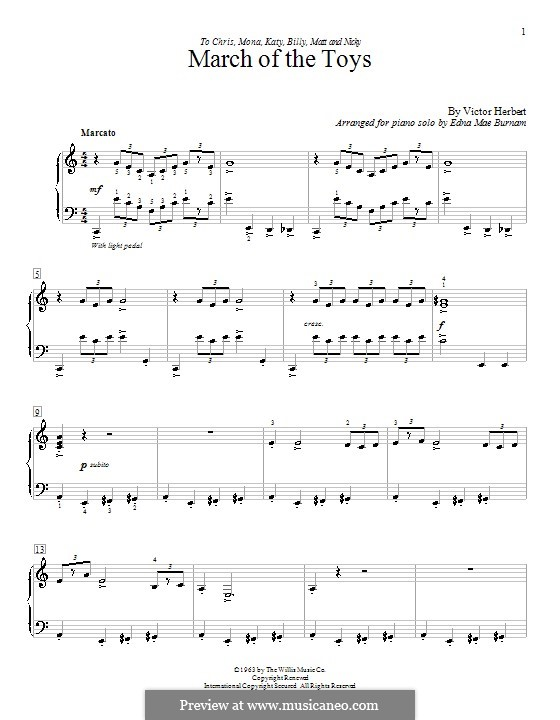 Babes in Toyland: March of the Toys, for piano by Victor Herbert