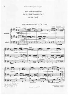 Five Easy Preludes and Fugues for the Organ, Op.56: Preludes and Fugues No1-2 by Max Reger