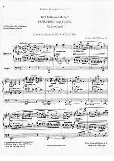 Five Easy Preludes and Fugues for the Organ, Op.56: Preludes and Fugues No.3-5 by Max Reger